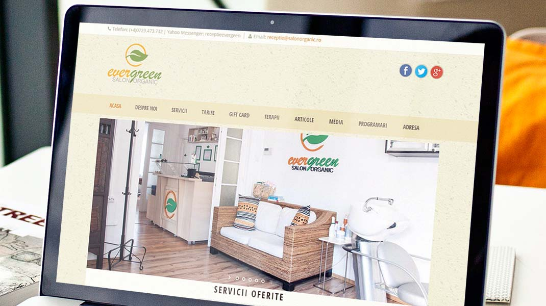 organic salon website design